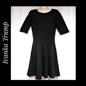 Ivanka Trump Fit & Flare Sweater Dress Dark Gray